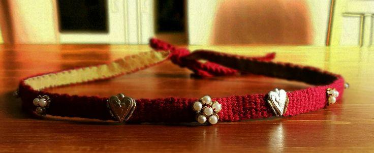 Medieval circlet, silk, leather, pearls, pewter,  goldthread.