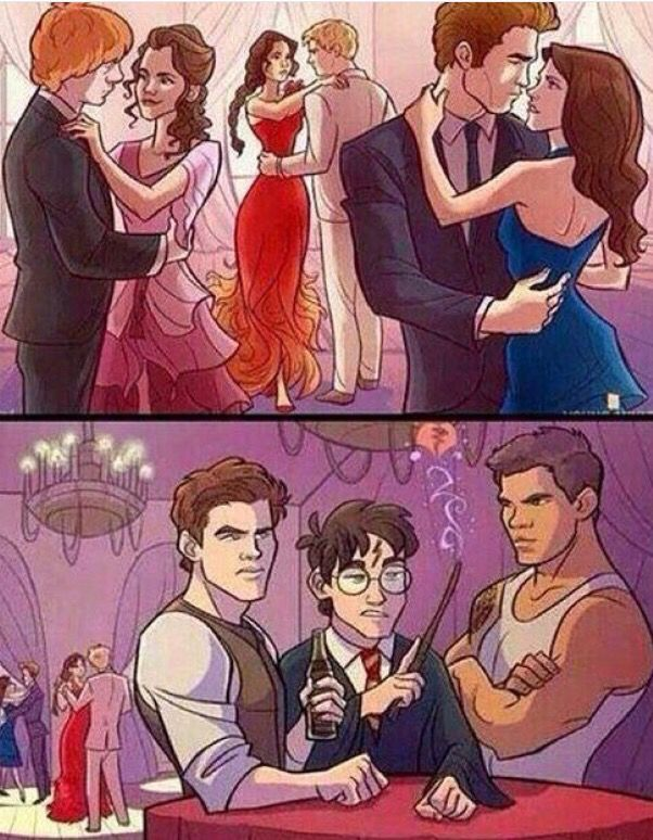 Gale, Harry and Jacob standing angrily in a corner while they watch their crushes dance. Ron & Hermione (watched by Harry), Bella and Edward (watched by Jacob) and Katniss and Peeta (watched by Gale).