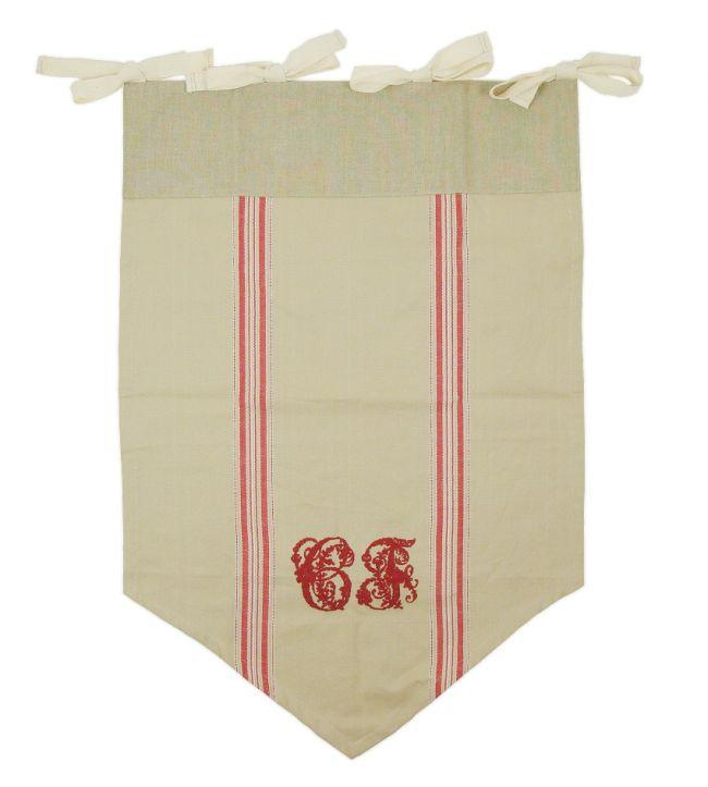 Tenda 45x67 vetras beige con lettere rosse ricamate Comptoir de Famille - TENDE - TESSILE