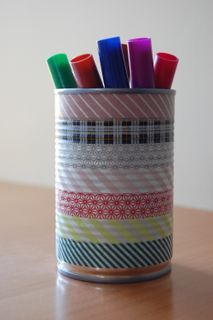 Making Pen Holder with Washi tape.