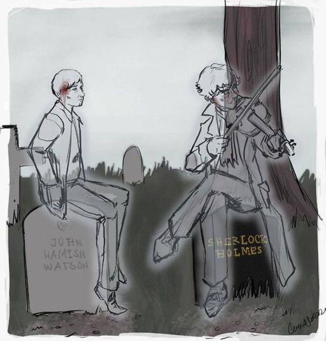 """""""I really love the idea that they'll still be best friends after death and John is just happy to listen to Sherlock play...."""" This is so beautiful but im crying...."""