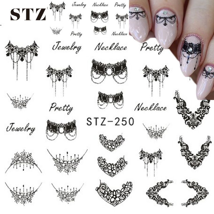 Cheap sticker nail art decals, Buy Quality nail art decals directly from China stickers nail art Suppliers: STZ 1 Sheets DIY Black Necklace  Jewelry Design Fashion Water Transfer Sticker Nail Art Decals Manicure Styling Tools STZ249-251