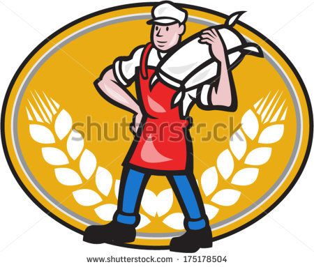 Illustration of a flour miller worker wearing apron bib carrying flour sack on shoulder set inside oval with wheat stalk crossed in background done in cartoon style. - stock vector #miller #cartoon #illustration