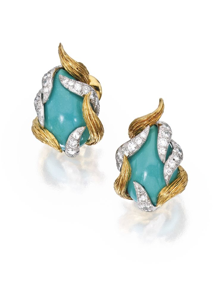 Pair of 18 Karat Gold, Turquoise and Diamond Earclips, David Webb Centered by two pear-shaped turquoise cabochons, within sculpted surrounds set with 40 round diamonds weighing approximately 1.40 carats, signed Webb.