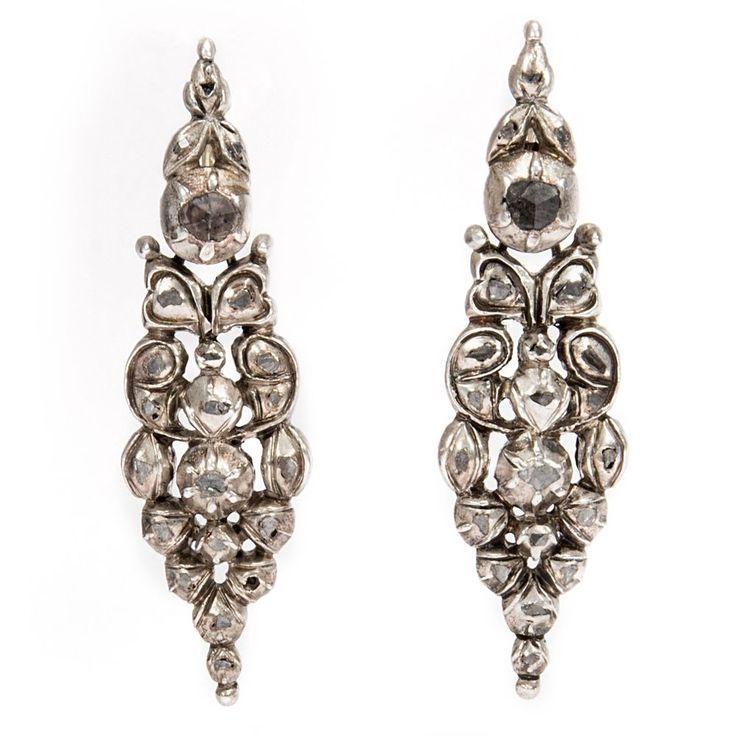 Um 1780: Diamant & Silber Ohrringe als Clips / Georgian Silver Diamond Earrings