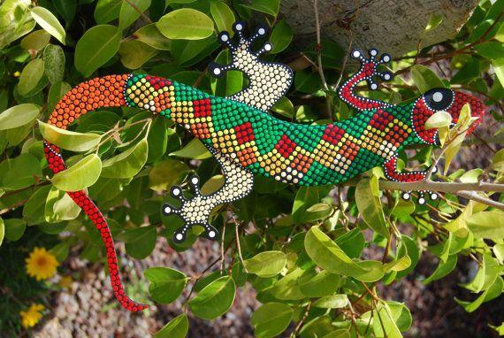Lizard G-12. Animal mdf painted. dot art. handmade. by Mandalaole
