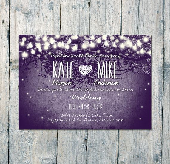Romantic Garden and Night Light #Wedding #Invitation and Reply #Card Set by WeddingSundaeShop