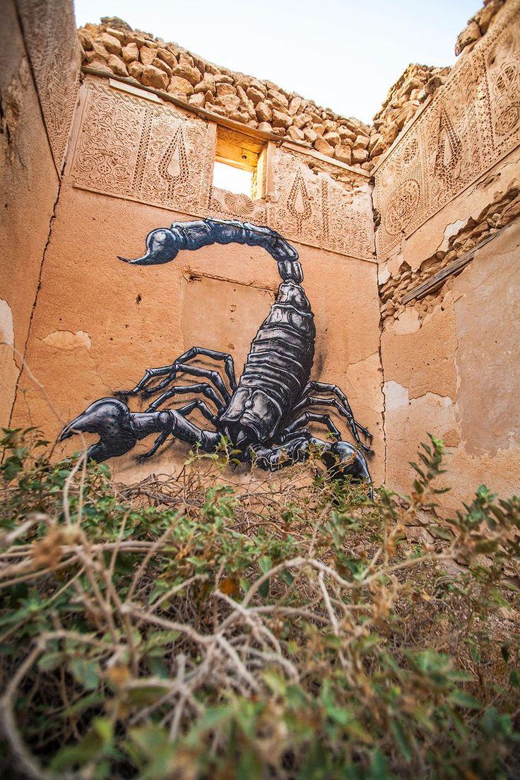 Scorpion by ROA - for the Djerbahood project - Djerba, Tunisia - 01.08.2014. Art.