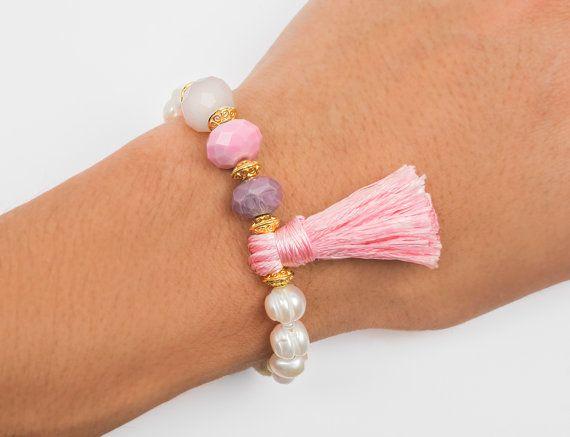 Fresh water pearls bracelet pink bracelet by ErikaKormaDesigns