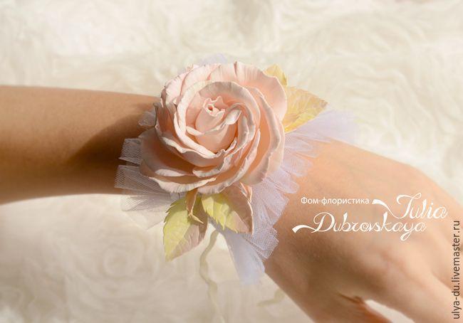 Мастер-класс: цветочный корсаж с цветами из фоамирана в стиле шебби шик - Ярмарка Мастеров - ручная работа, handmade