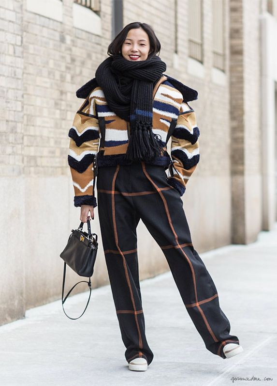 Street style, mixed patterns, fashion week, New York City / Garance Doré