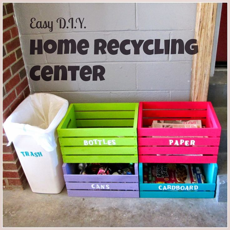 Easy D.I.Y. Home Recycling Center made from wooden crates: Bottles, Paper, Cans, Cardboard and Trash
