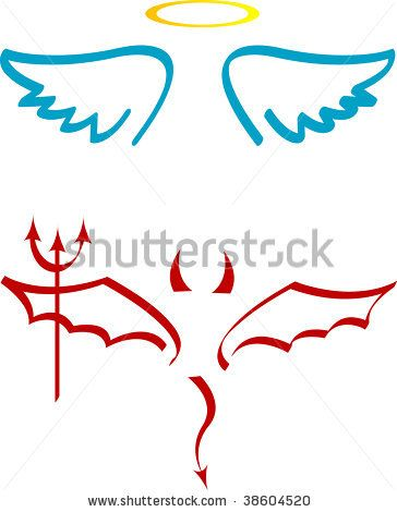 Angel and Devil Tattoos | Angel And Devil Attributes Stock Vector 38604520 Shutterstock Design ...