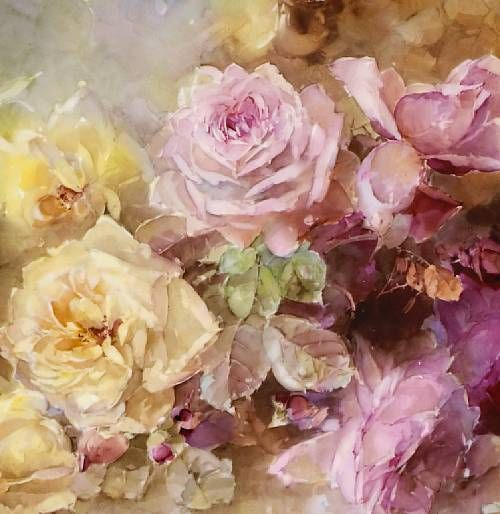 Pink and Yellow Roses (detail) by Franz A. Bischoff, 1901