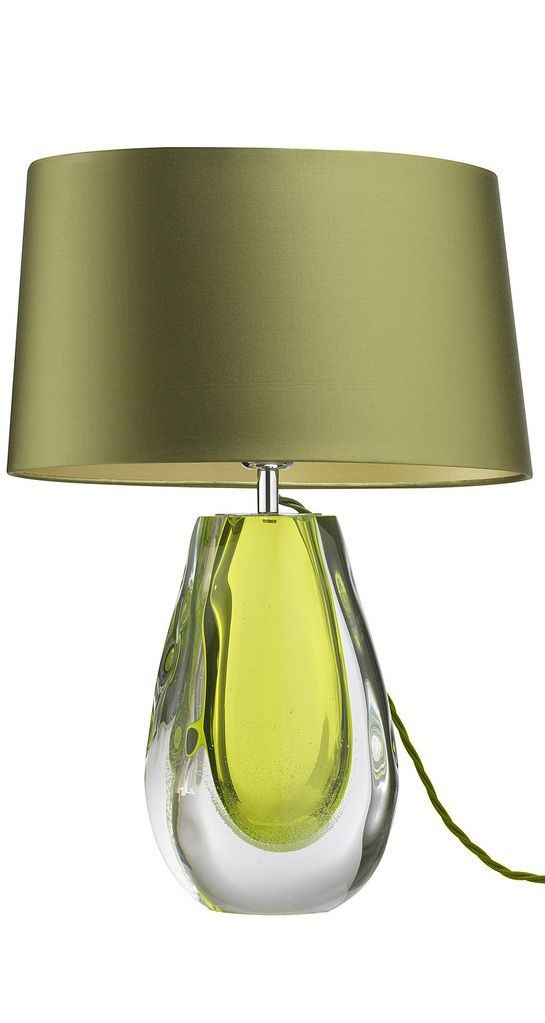 Green Lamp Painting : Instyle decor designer green art glass table lamp