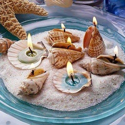 Se há coisa que eu gosto mesmo muito na decoração, são conchas, búzios, estrelas do mar, corais, etc.   E nem sequer precisam de ser conchas...