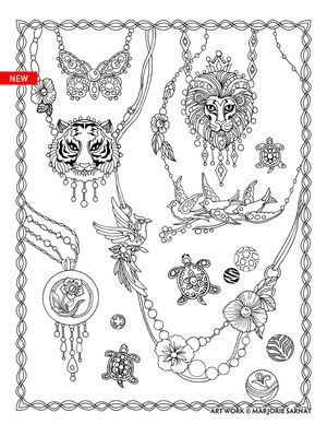 Marjorie Sarnats Fanciful Fashions Coloring For Everyone Necklaces C