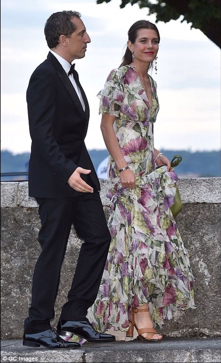 CHARLOTTE CASIRAGHI AND HER COMPAGNON, GAD EL MALEH ARRIVE FOR RELIGIOUS WEDDING OF BEATRICE BORROMEO and HER BROTHER, PIERRE CASIRAGHI, SON OF PRINCESS CAROLINE of MONACO. The wedding took place in Italy on the Borromeo Islands owned by the bride's family.