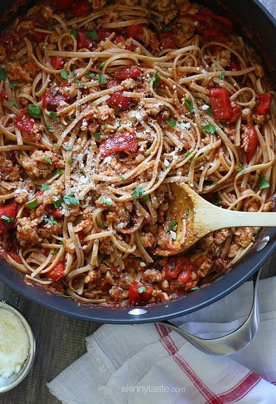 Spicy Whole Wheat Linguine with Sausage image