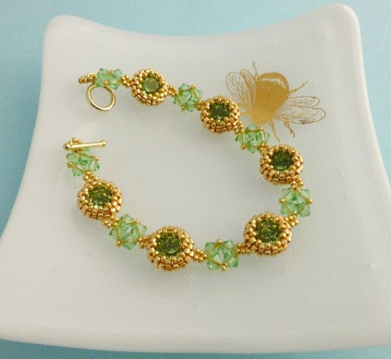 Green and Gold Bracelet Peridot Crystal Jewellery August