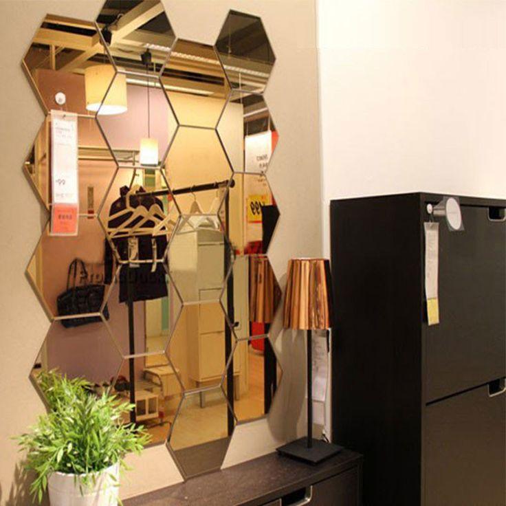 Mirrored Hexagonal Wall Decoration (7 Pc) - Wall Art - www.taccitygoods.com - 1