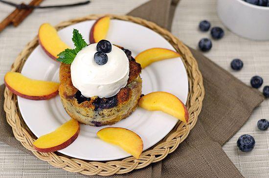 Blueberry and Peach Breakfast Bread Pudding | Paleo Fondue