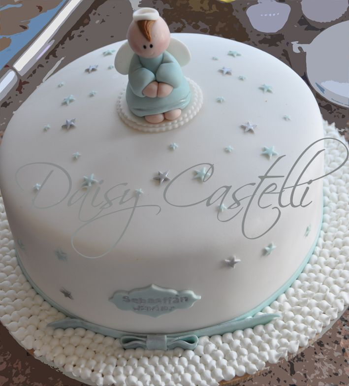 fondant cake angel baptism