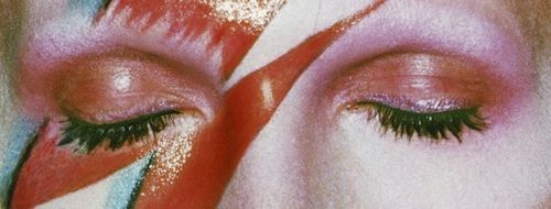 • vintage banner lightning Make up david bowie eye lashes ziggy stardust 70s tutorial bolt pale eyes closed thin white duke young americans alladin sain iconoclasttransmissions •