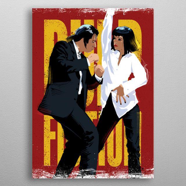 Pulp Fiction Dancing Metal Poster Nikita Abakumov Displate Pulp Fiction Pop Art Posters Pulp Fiction Art