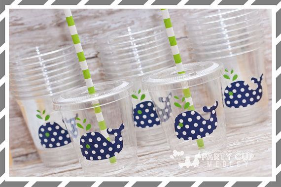 Whale Birthday Party Cups-Navy White Polka Dot by PartyCupMedley