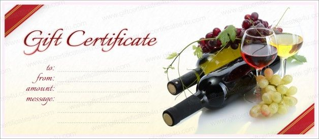 wine and cherries gift certificate template