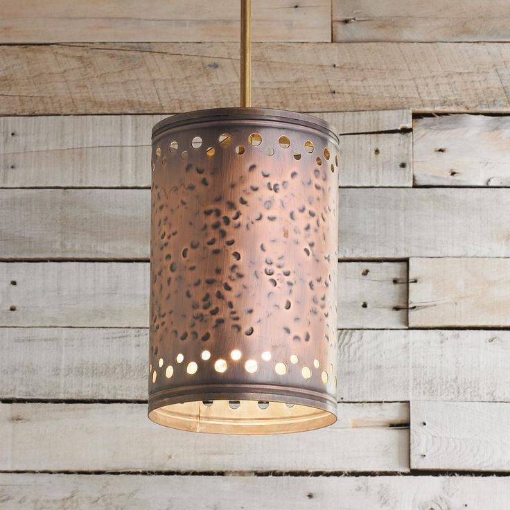 Hammered Copper Cylinder Pendant Light Available in 2 Colors ...