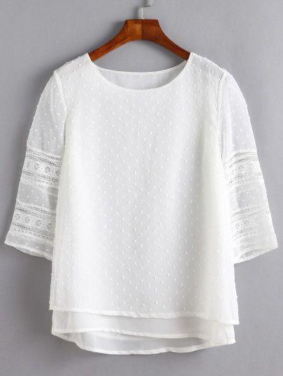 Blusa encaje insertado hueco overlay - blanco-Spanish SheIn(Sheinside) Sitio Móvil