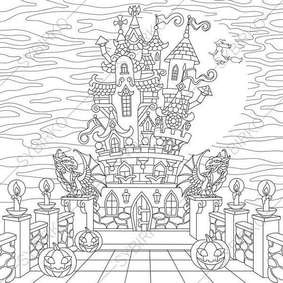 Coloring Pages For Adults Halloween Horror Spooky Castle Adult Coloring Pages Digital Jpg Pdf Coloring Page Instant Download Print Halloween Coloring Pages Coloring Pages Coloring Books