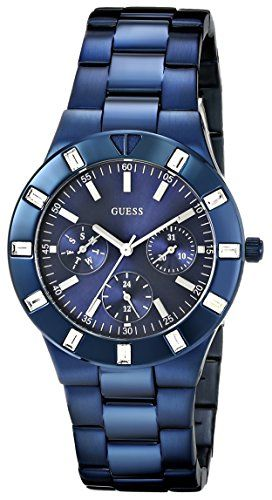 GUESS Women's U0027L3 Iconic Blue-Plated Stainless Steel Watch. Feminine high-shine sport mid-size multi-function watch in iconic blue plating & crystal accents. Case diameter: 36 mm. Iconic blue plating. Durable mineral crystal. Water resistant to 330 feet (100 M).