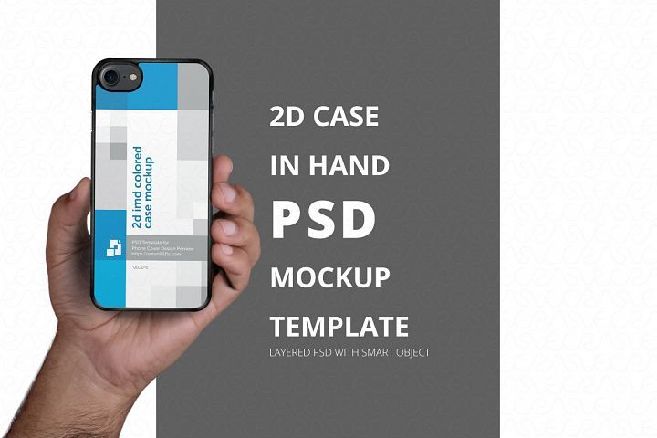 Download 2d Phone Case In Hand Psd Mockup Template Iphone 7 242600 Mockups Design Bundles Psd Mockup Template Mockup Template Mockup Psd
