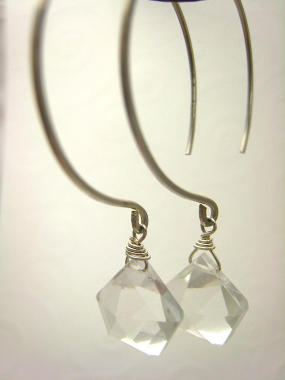 Sterling silver hand forged hoops with rock crystal pyramids