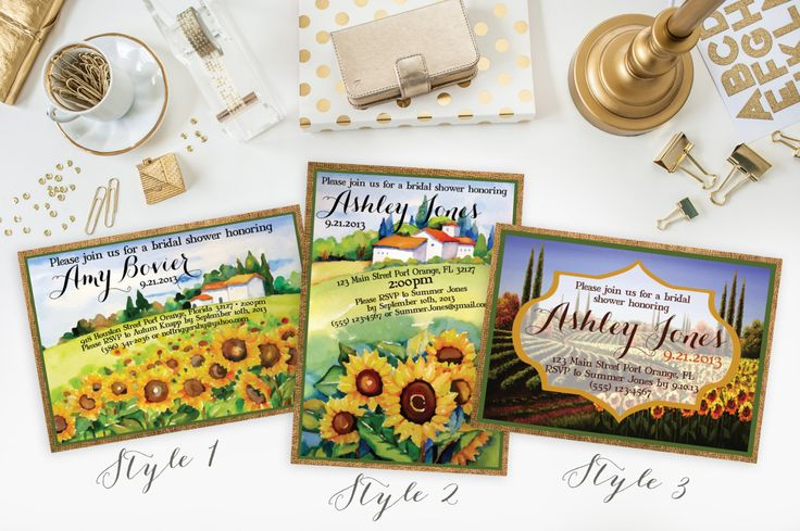Wedding Shower Invitation- Tuscan Themed-- Sunflowers--Burlap -- Customizable DIGITAL file or DEPOSIT for printed invitations FeatheredHeartPrints