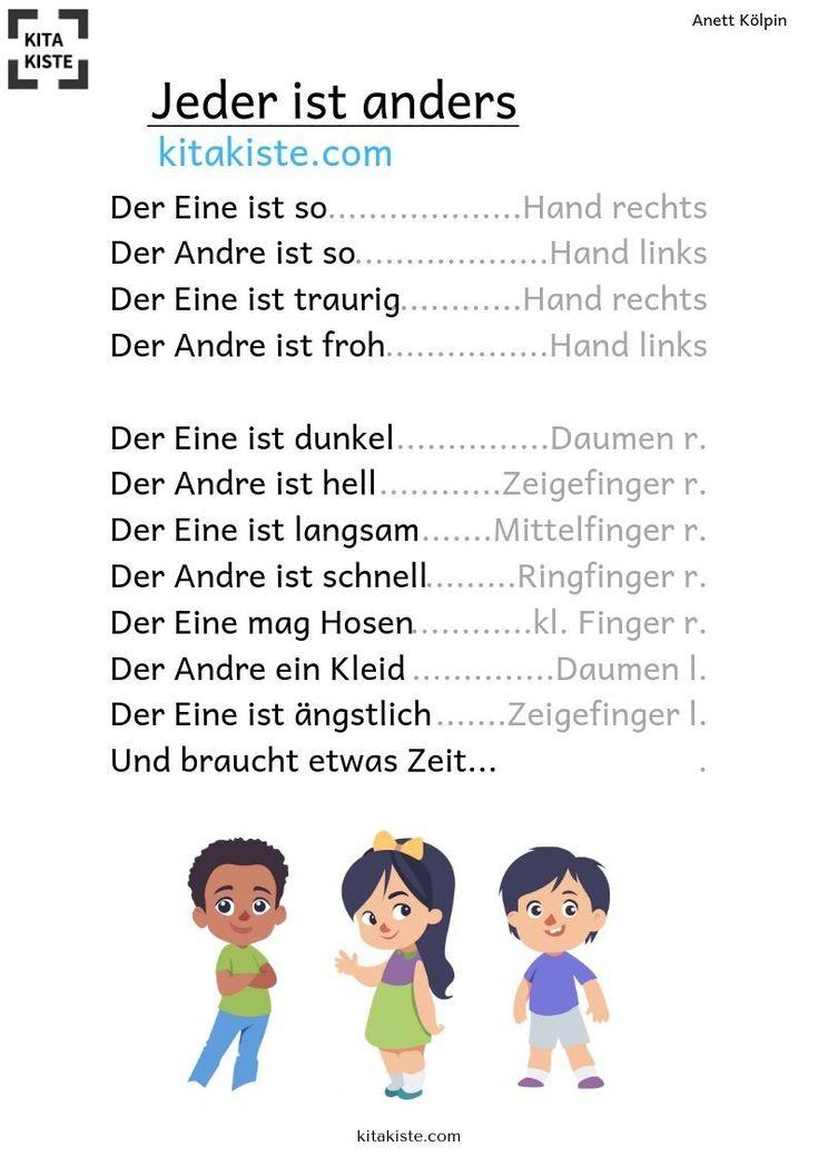 Jeder ist anders - GEDICHT | Fingerspiele kindergarten