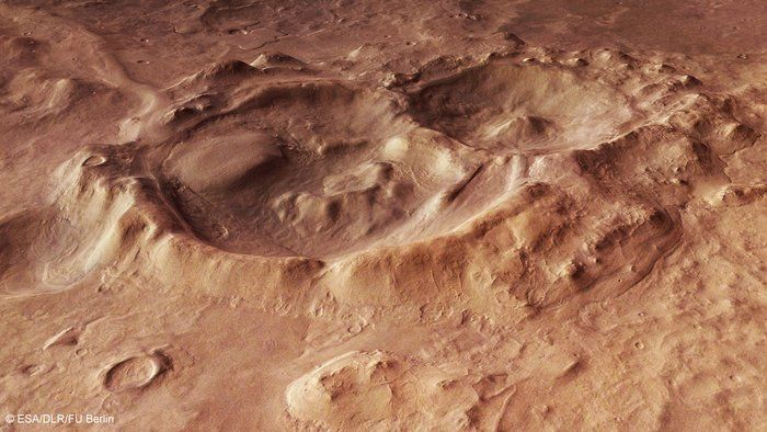 Craters within the Hellas Basin-  carring the southern highlands of Mars is one of the Solar System's largest impact basins: Hellas, with a diameter of 2300 km and a depth of over 7 km.  Hellas is thought to have formed between 3.8 and 4.1 billion years ago, when a large asteroid hit the surface of Mars. Since its formation, Hellas has been subject to modification by the action of wind, ice, water and volcanic activity.  Impact craters have also since pock-marked this vast basin floor, two…