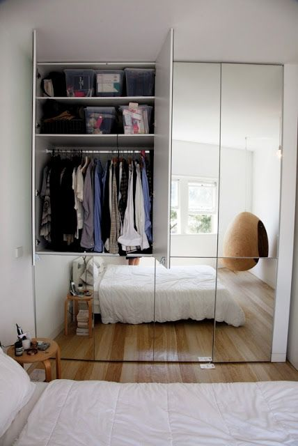 Mirrored closets not only provide additional storage space, they can also make a room look bigger.