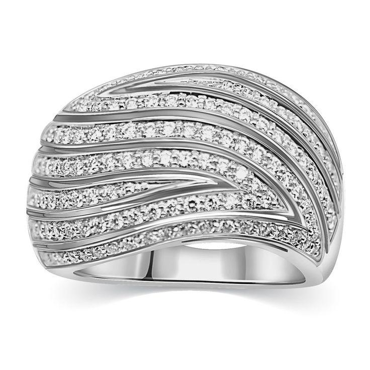 14k White Gold Finish 1.27 Ct Round White Cz Wedding Band Ring Size 5.5 NEW #caratsforyou #Band