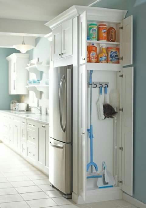 Added to the side of stove side cabinets to store vacuums