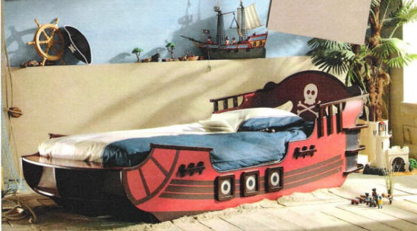 A real pirate ship with safety rails - best of all twin size.