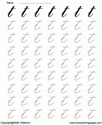 Printable Cursive Letter Dot To Dots T Coloring Worksheets