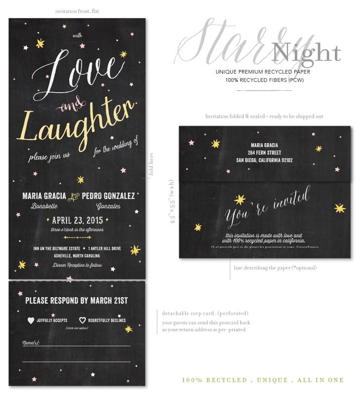 Starry Night wedding invitations - on 100% recycled chalk paper.