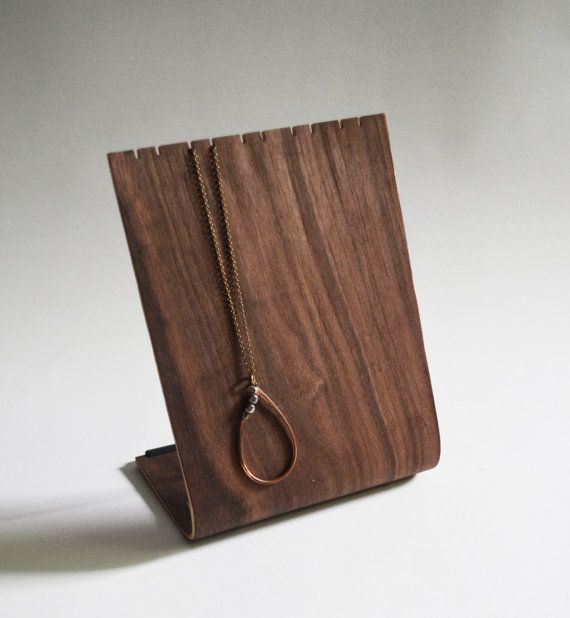 Great necklace stand! Bent Plywood Necklace Stand by andersenfamiliar on Etsy, $40.00