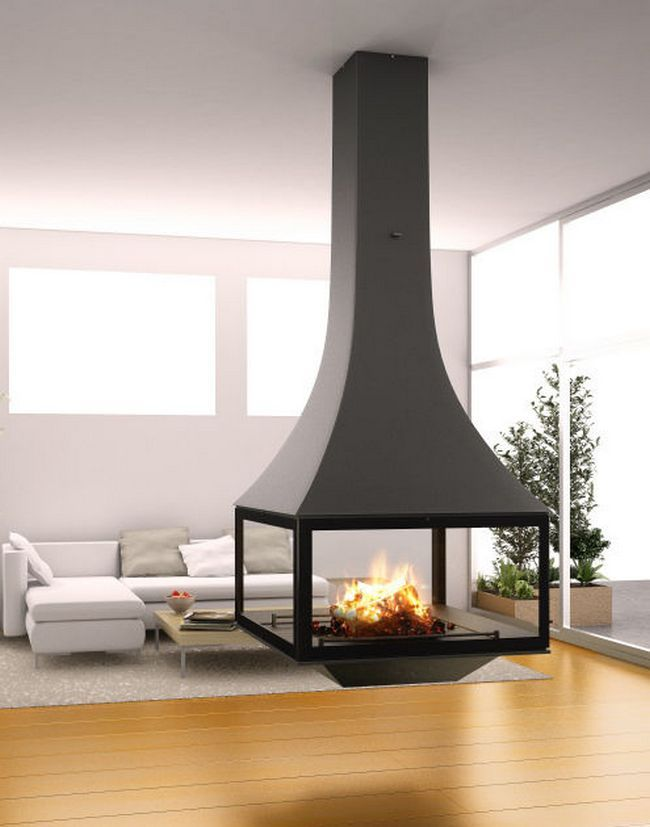 Whether you are a hi-tech adoptee or just eager to give your guests a stunning effect, suspended fireplaces will take care of the necessary impression. You can make a fireplace that hangs from the ceiling or mount it on the wall, create an alcove or embed it into the countertop: your room will obtain a
