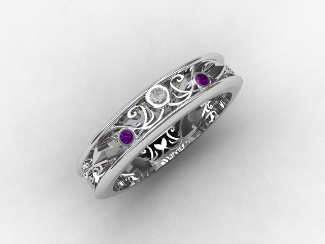 Amethyst Ring White Gold Diamond Filigree Wedding Band Purple