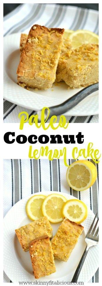 """Paleo Coconut Lemon Cake 9"""" square."""